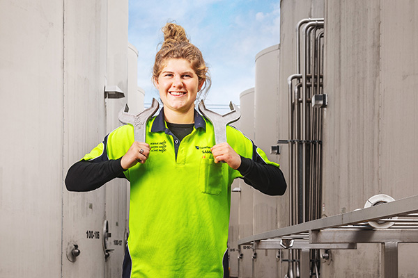 Photo of woman standing in Constellation Brands New Zealand plant