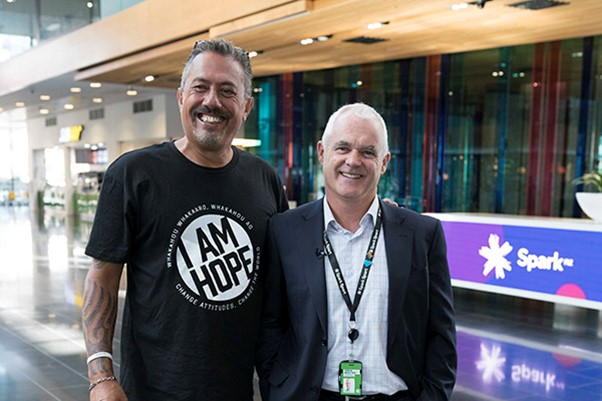 Photo of mental health campaigner Mike King with Simon Moutter from Spark