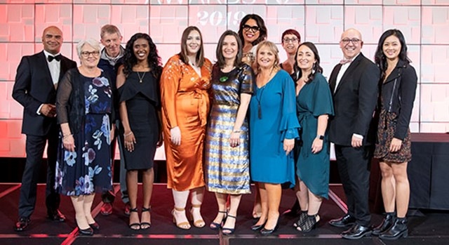 Diversity Works New Zealand Chief Executive Rachel Hopkins with the team at the 2019 Gala Dinner