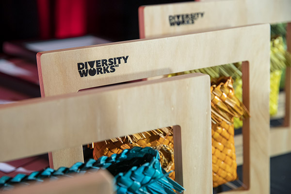 Examples of the Diversity Awards NZ winner award trophies