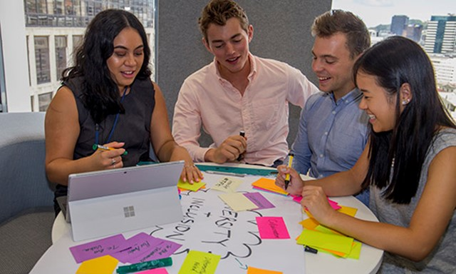 Group of people working together with post-it notes