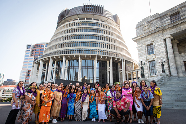 photo of Pacifika interns outside Parliament