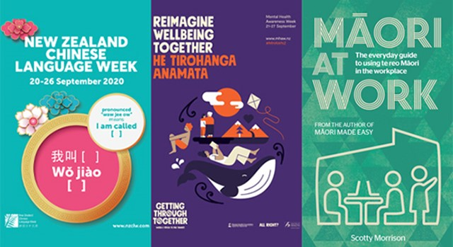 Posters and books promoting September 2020 diversity celebrations