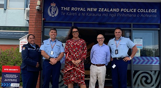 Tracey Wharehoka, Superintendent Scott Fraser, Mary Haddock-Staniland, Guillermo Merelo and Inspector Chris Kerekere outside the Royal New Zealand Police College